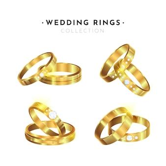 Set de anillos de boda realistas