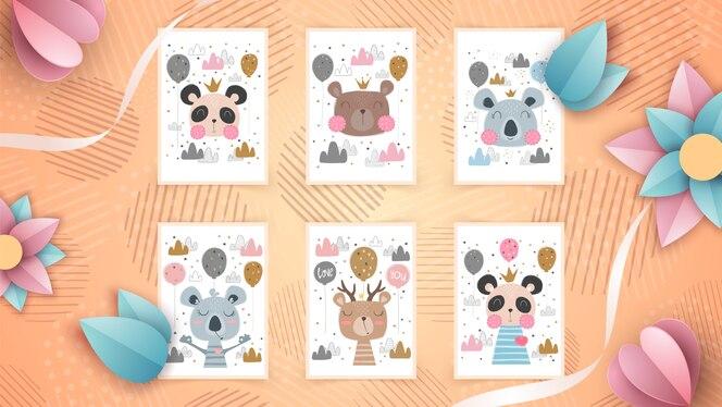 Set animal lindo - idea para tarjeta de felicitación