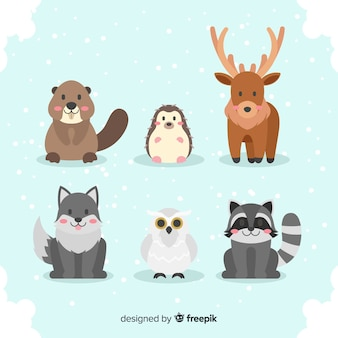 Set de animales del bosque en invierno