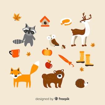 Set de animales de bosque otoñal dibujados