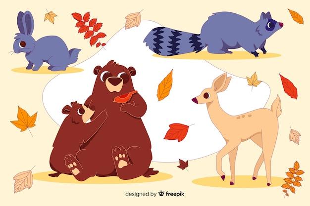 Set de animales del bosque otoñal dibujados