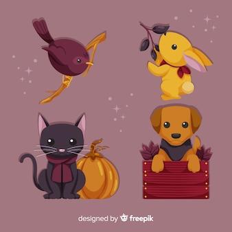 Set de animales de bosque otoñal