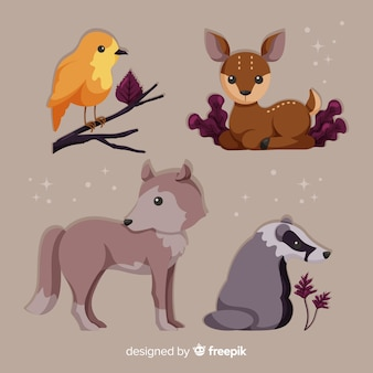 Set de animales de bosque otoñal