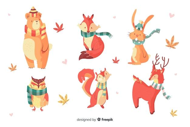 Set de animales del bosque otoñal