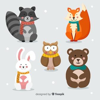 Set de animales en invierno