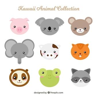 Set de animales kawaii en diseño plano