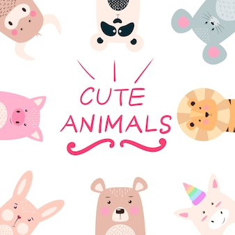 Set animales - panda, rinoceronte, león, oso, conejo, unicornio, cerdo, vaca, ratón