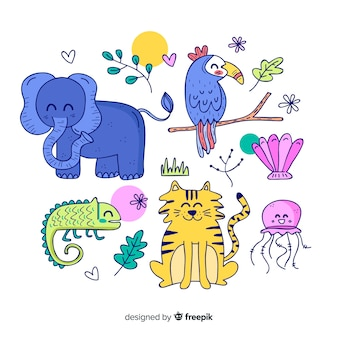 Set de animales tropicales: elefante, tucán, camaleón, tigre, medusa