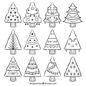 Set de árboles de navidad con adornos dibujados a mano