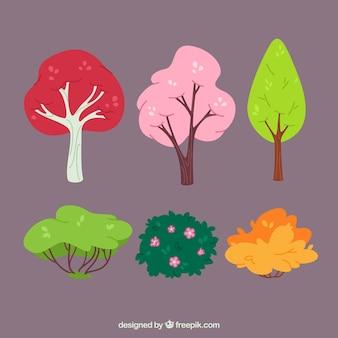 Set de árboles y plantas de colores dibujadas a mano