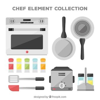 Set de artículos de chef planos