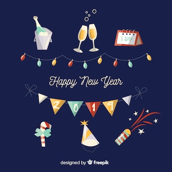 Set de artículos de fiesta para año nuevo
