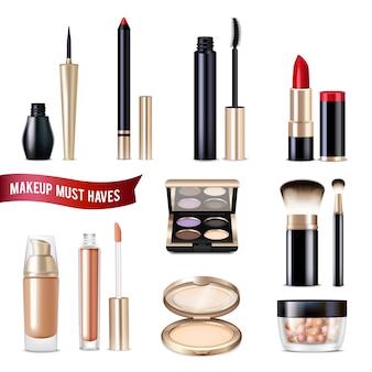 Set de artículos realistas de maquillaje.