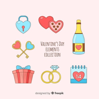 Set de artículos de san valentín