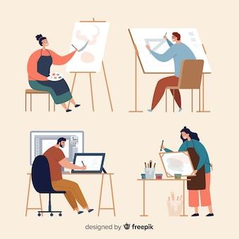 Set de artistas creando su obra