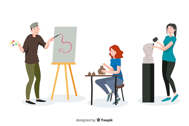 Set de artistas de diferentes disciplinas. pintor, escultora y artesana