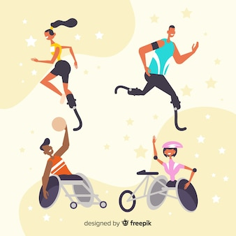 Set de atletas con discapacidad