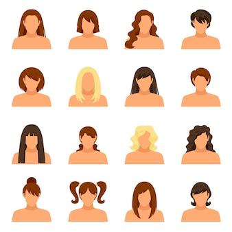 Set de avatar de peinado de mujer