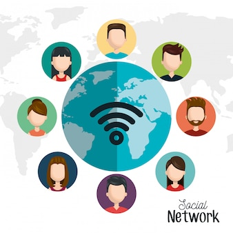 Set avatar red social digital aislado