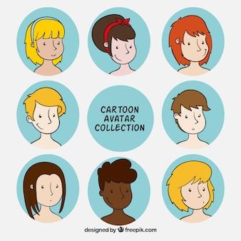 Set de avatares dibujados a mano