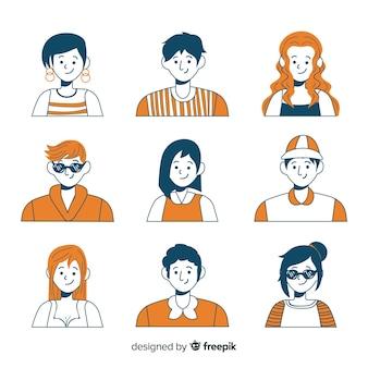 Set de avatares dibujados de personas