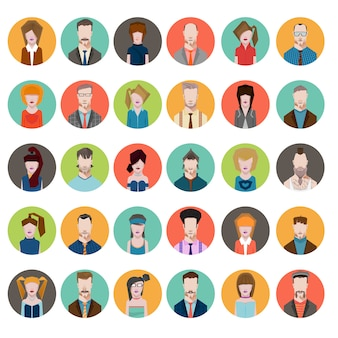 Set avatares estilo plano hombres mujeres profesion