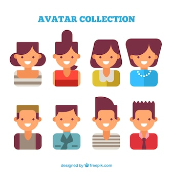 Set de avatares de mujeres y hombres en diseño plano