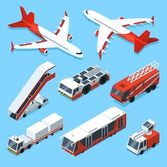 Set de aviones y otras máquinas de apoyo en aeropuerto. ilustraciones isométricas vectoriales de transporte.