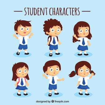 Set azul de personajes estudiantes