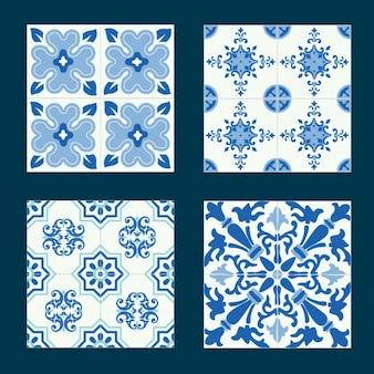 Set de azulejos con formas azules