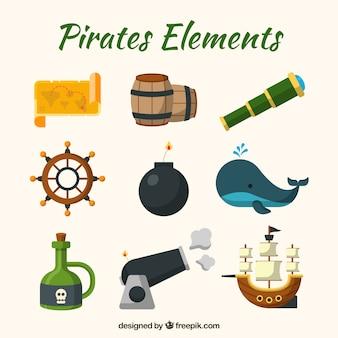 Set de ballena y elementos de aventuras de piratas