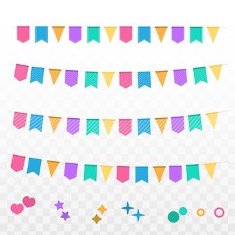 Set bandera bandera celebración con guirnalda de color