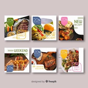 Set banner de comida cuadrados fotográficos