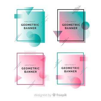 Set banner formas geométricas abstractas