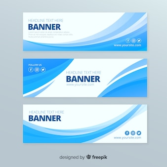 Set banner ondas abstractas