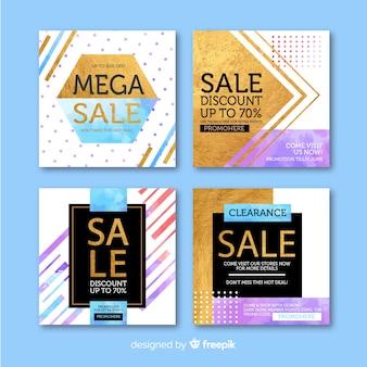 Set de banner promocionales de forma cuadrada