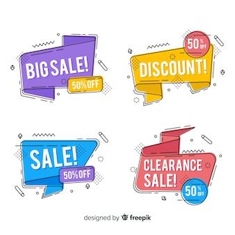 Set banner de rebajas estilo memphis coloridos