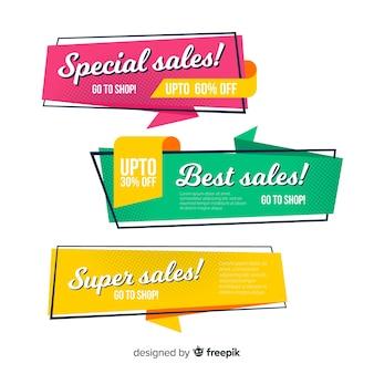 Set banner de rebajas estilo origami coloridos