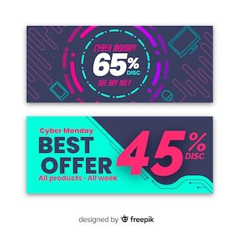 Set de banners abstracto colorido de rebajas de cyber monday