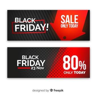 Set de banners abstracto en rojo y negro de rebajas de cyber monday