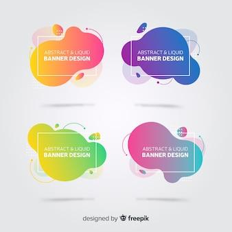 Set de banners abstractos con forma fluidas