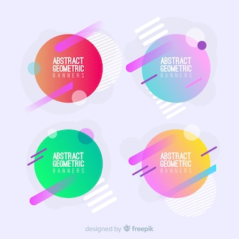 Set de banners abstractos de forma geométrica