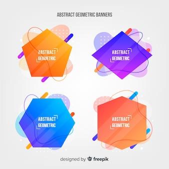 Set de banners abstractos con formas geométricas