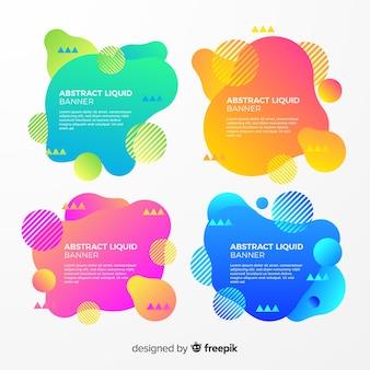 Set de banners abstractos con formas líquidas