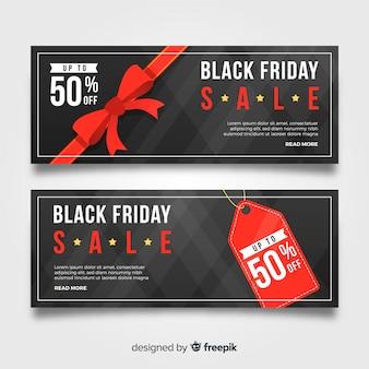 Set de banners abstractos de rebajas de black friday en negro y rojo