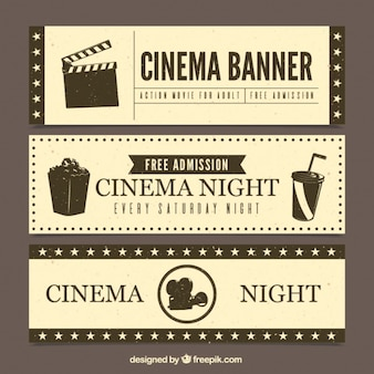 Set de banners de cine en estilo retro