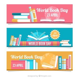 Set de banners de colores del día del libro