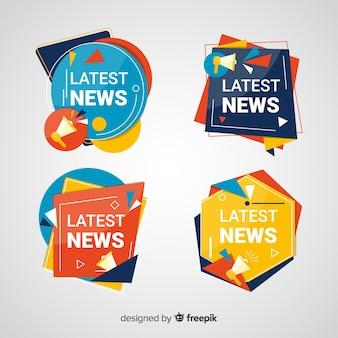 Set banners coloridos de noticias formas geométricas
