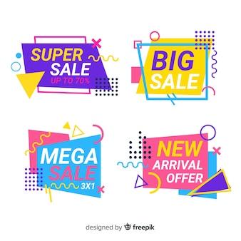 Set banners coloridos de rebajas estilo memphis