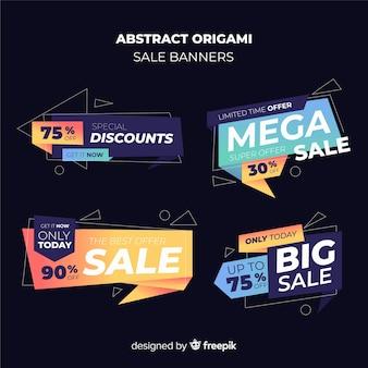 Set banners coloridos de rebajas origami abstractos